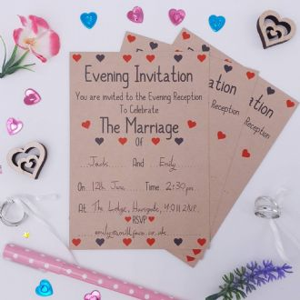 Kraft Wedding Evening Invitations & Envelopes - 1 Pack Of 8 - Love Hearts Collection